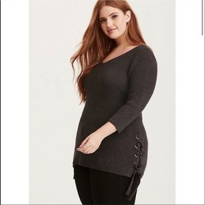Torrid   Grey Knit Sweater with Lace Detail